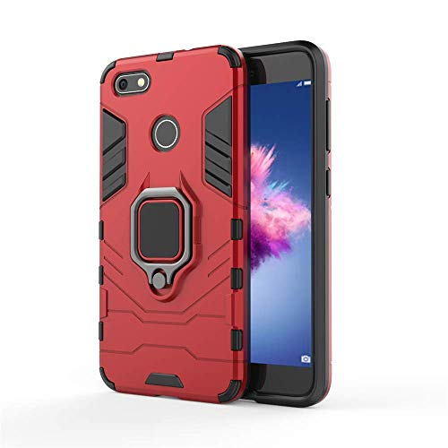 Huawei Y6 Pro 2017 / Huawei P9 Lite Mini/Enjoy 7 Hülle, MHHQ Hybrid 2in1 TPU+PC Schutzhülle Rugged Armor Car Mount Hülle Cover Dual Layer Bumper Backcover mit Ständer für Huawei Y6 Pro 2017 -Red