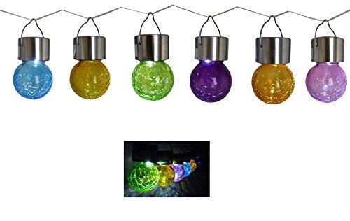 6 x glazen bal met breukglas-look, gekleurde LED-tuinlamp, roestvrij staal, glas, solarlamp, tuin, solarverlichting, tafellamp, hanglamp, feestlamp