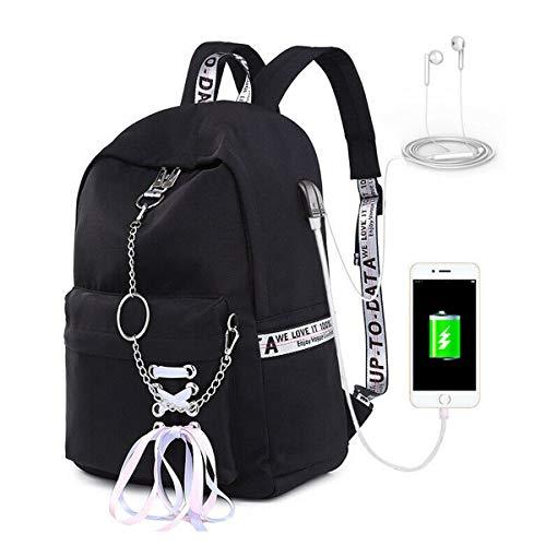 Greetuny Mochila con USB y Auriculares para Colegios Mujer de Moda Impermeable Mochilas
