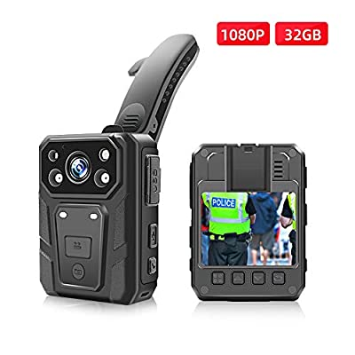 Police Body Camera, 1080p HD Body Worn Camera with 2 Inch Display, Night Vision, 3600w Pixels, Waterproof, 3200mAh Battery, 15 Hours Recording, 64G Memory from CAMMHD