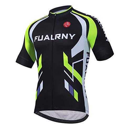 d.Stil Radtrikot Herren Fahrradtrikot Kurzarm Fahrradbekleidung T Shirt für Männer, Atmungsaktive Cycling Jersey Schnell Trocknen Radsport Bekleidung M-3XL (Grün-2, M)