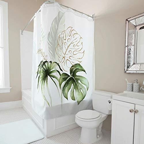 Tentenentent Cortina de ducha con diseño de hoja de plátano, resistente a la corrosión, con ganchos, para cuarto de baño, color blanco, 180 x 180 cm