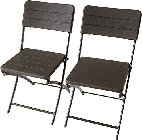 Beach & Pool Klappstuhl für Balkon, Garten und Camping, Metallgestell mit Sitzfläche aus Kunststoff, Rattan oder Holz-Optik, Bistrostuhl in schwarz