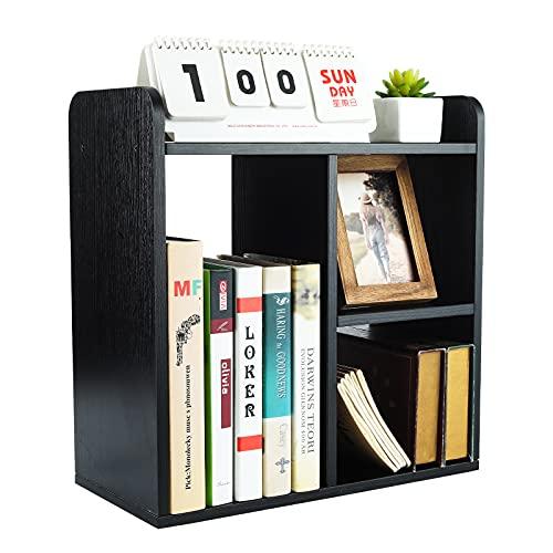 PAG Desktop Shelf Freestanding Wood Small Bookshelf Desk Supplies Organizers and Accessories Storage Display Rack Office Decor for Women, Black