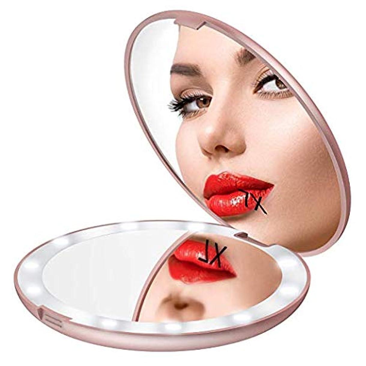 スポットグリル問題Gospire 化粧鏡 7倍拡大鏡 携帯ミラー 化粧ミラー LEDライト 手鏡 折りたたみ式 コンパクト 角度調整可 (ピンクゴールド)