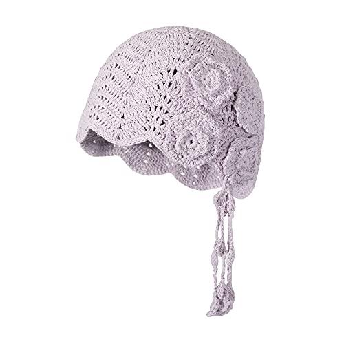 ZLYC Gorro de ganchillo de algodón para mujer, hecho a mano, con diseño floral