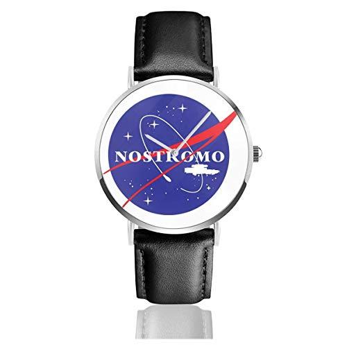Montres Quartz Cuir Bande Noire Jeune Collection Cadeau Unisexe Business Casual Nostromo NASA Logo Alien