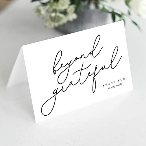 Bliss Collections Beyond Grateful Thank You Cards with Envelopes, Pack of 25, 4x6 Folded, Tented, Bulk, Perfect for: Wedding, Bridal Shower, Baby Shower, Birthday, or just to say thanks!