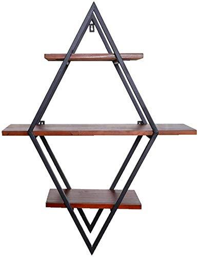 IKEA decoratiestandaard voor thuis / eenvoudig van smeedijzer, wandmontage, diamant-wandmontage, 3 Living, decoratieve frame, kamer (kleur: goud) Zwart