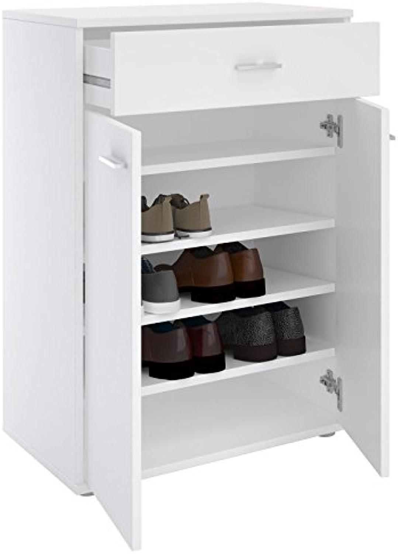 CARO-Mbel Schuhschrank Grenoble Schuhkommode Schuhablage mit 1 Schublade und 2 Türen, 4 Einlegebden in wei