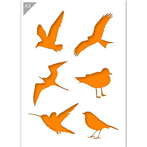 Vogel Silhouetten Schablone - Plastik - A3 42 x 29,7cm - Höhe erster Vogel 12 cm - wiederverwendbare kinderfreundliche Schablone für Malerei, Handwerk, Fenster, Wände und Möbel