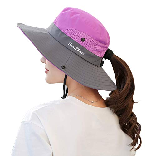 Muryobao Women's Sun Hat Outdoor UV Protection Foldable Mesh Bucket Hat Wide Brim Summer Beach Fishing Cap Purple