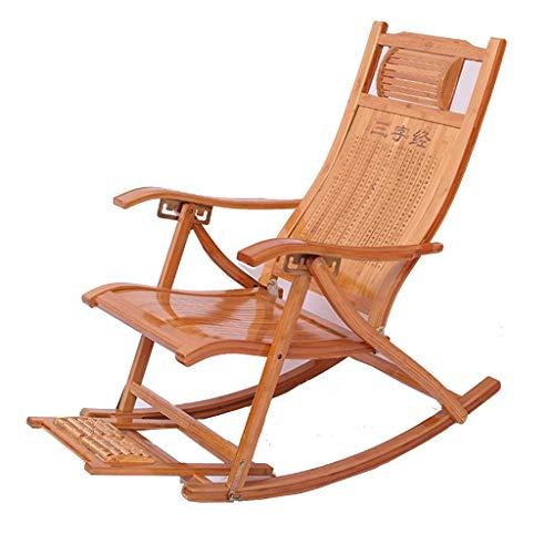 SGSG Mecedora de bambú Plegable, sillón reclinable Ajustable de 5 velocidades, con Tabla de Masaje de pies para jardín al Aire Libre, Camping, Playa, Tumbona