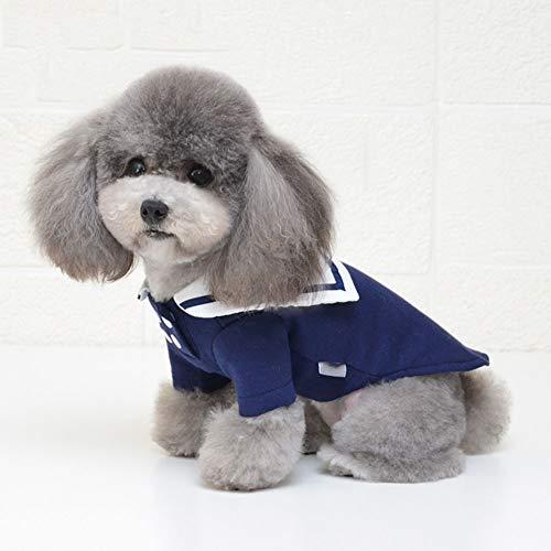 YUEBAOBEI Haustier-Netter Mantel/Hund Seemann Kostüm Zweireihiges T-Shirt, Halloween Weihnachten Pet Kostüme Für Welpen Und Katze,Marine,XS