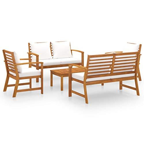 vidaXL Madera Maciza de Acacia Muebles de Jardín 5 Piezas Cojines Mobiliario Exterior Hogar Cocina Terraza Mesa Silla Asiento Suave Respaldo