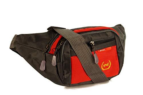 Piotrstrade Unisex Damen Herren Hüfttasche Gürteltasche Bauchtasche Doggy Bag mi 4 Fächern mit Reißverschluss und verstellbaren Gürtel in Blau Rot oder Schwarz