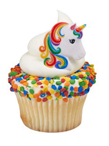 36 Rainbow Unicorn Cupcake Topper Rings Party Favors Birthday Party Supplies from Blue Fox Baking