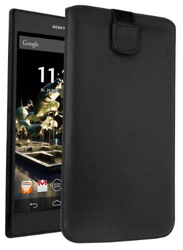 mumbi Echt Ledertasche kompatibel mit Sony Xperia Z Ultra Hülle Leder Tasche Case Wallet, schwarz