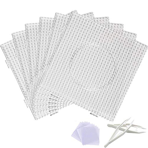 Fuse Bead Boards, 6Pcs 5mm Large Square Clear Plastic Beads Pegboards with 2Pcs Beads Tweezers and 6Pcs Lroning Paper for Kids Craft Beads