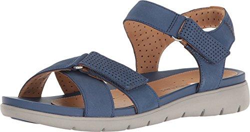 Clarks Women's Un Saffron Active Sandal,Dark Blue Cow Nubuck,US 5.5 M