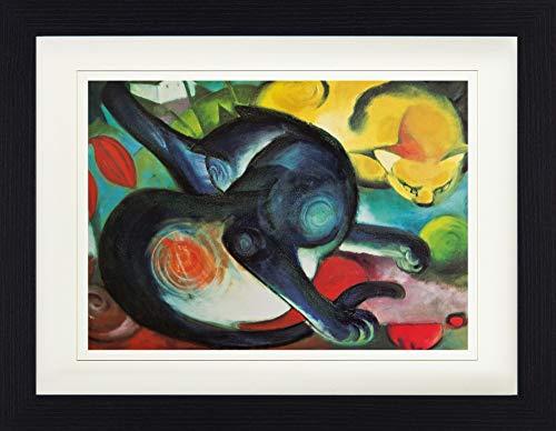 1art1 Franz Marc - Zwei Katzen, Blau Und Gelb, 1912 Gerahmtes Bild Mit Edlem Passepartout | Wand-Bilder | Kunstdruck Poster Im Bilderrahmen 40 x 30 cm