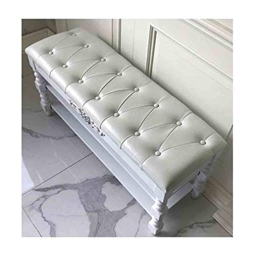 Aufbewahrung Ottoman Bench Entryway Massivholzschuhregal Tufted Faux Leather Open Bottom, Weiß (Color : 80cm)