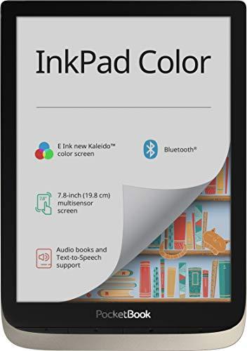 PocketBook E-Ink - Lettore e-book InkPad Color, 16 GB di memoria, 19,8 cm (7,8 pollici) E-Ink New Kaleido, retroilluminazione anteriore, Wi-Fi, Bluetooth) Moon Silver