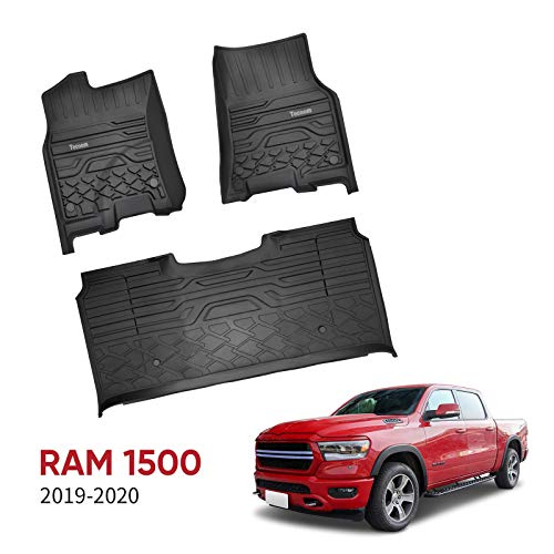 Tecoom Floor Mats Front & 2nd Seat Floor Liners Fits 2019-2020 Ram 1500 Crew Cab All Weather TPE