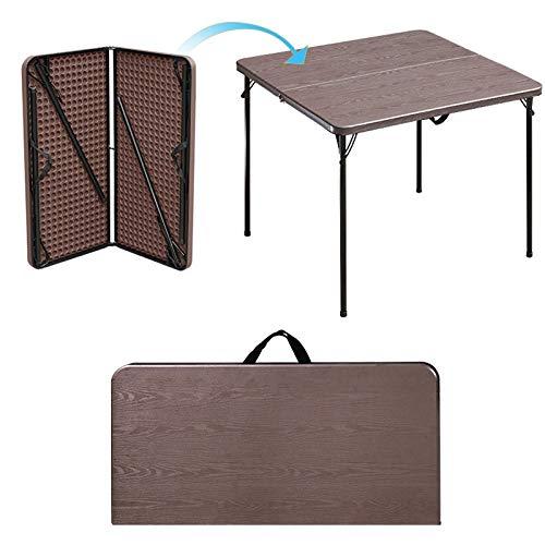 Huoqiin Tafel, vierkant, voor huishouden, klein, inklapbaar, mahong, eenvoudig, tafel, opvouwbaar, vierkant Bruin