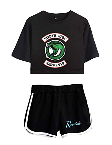 Riverdale Southside Serpents Magliette Tumblr Ragazza e Shorts Estate Camicia a Maniche Corte Crop Top Donna Sexy Elegante Camicetta Casuale Top Tees T-Shirt E Pantaloncini (2, XS)