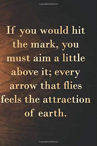 """Lamp :If you would hit the mark, you must aim a little above it; every arrow that flies feels the attraction of earth: 6 x 9"""" Notebook to Write In with 110 Lined College Ruled Pages beautiful design"""
