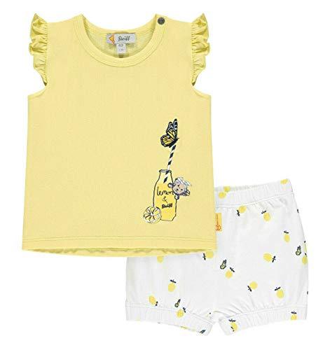 Steiff Set Shorts+T-Shirt Juego de pantalones cortos y camiseta, Amarillo Cream, 3 mes para Bebés