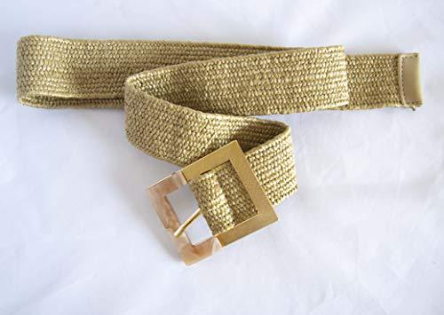 Cinturón elástico de rafia con hebilla de nácar. Envío GRATIS 72h (Marrón)