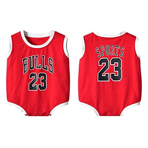DHRBK Body de bebé Mono NBA Bulls Jordan # 23 Pijama de Verano de Manga Corta con botón a presión Encantador Traje de Gateo