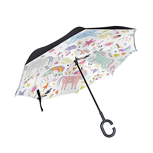 MAILIM Paraguas invertido de Unicornios Coloridos y Lindos a Prueba de Viento, Doble Capa, Mango C, protección UV para el Coche, para Mujeres y Hombres