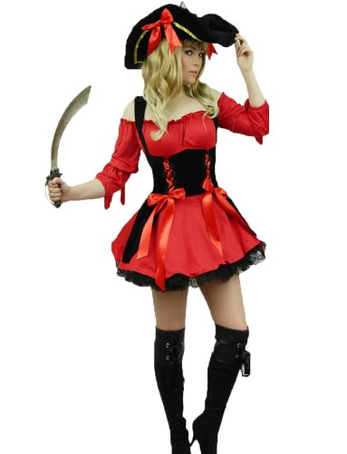 Yummy Bee - Pirate des Caraibes Tenue Costume Deluxe Déguisement Femme Adultes Capitaine + Chapeau + Sabre D'Abordage - Grande Taille 34-50 (48/50, Rouge)