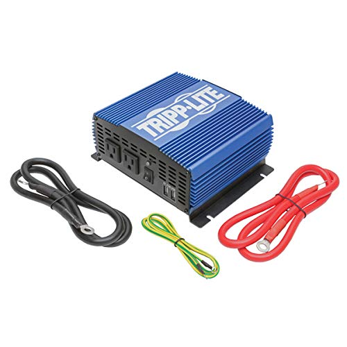 Tripp Lite 1500W Power Inverter, Medium-Duty Power Inverter with 2 AC 2 USB Outlets, 2.0A Battery Cables (Pinv1500)