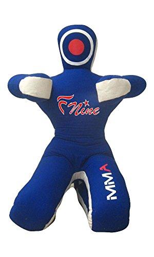 FNine MMA Judo-Boxsack, unbefüllt, Sitzposition, Hände auf der Vorderseite, Grappling-Dummy, Blaue Leinwand, 177,80 cm