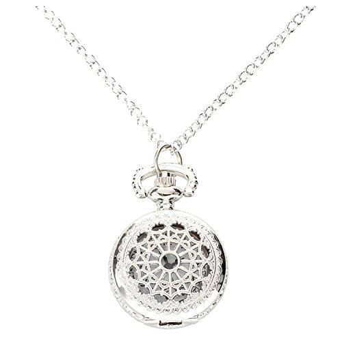 SODIAL (R) –Orologio al quarzounisex, da taschino, con collana, in lega d'argento, decorato