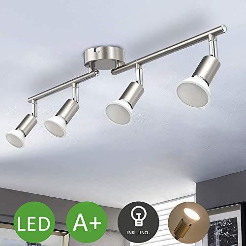 LED Küchenlampe, Deckenleuchte Küche, Deckenlampe Schwenkbar, Deckenstrahler 4 x 3W GU10-Fassung, 4 Spots 3000K Warmweiß