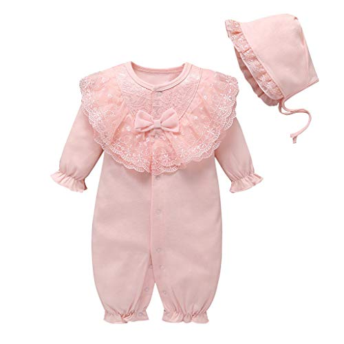 Livoral Neugeborene Baby Mädchen solide Rüschen Lace Strampler Overall + Hut Outfits Sets(Rosa,0-3 Monate)