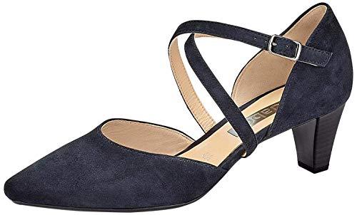 Gabor 81.363-16 Damen Pumps Veloursleder verstellbare Riemchen Gummizug Absatz, Groesse 42, dunkelblau