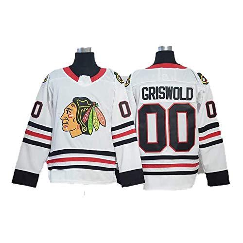 KKCD Hielo Hockey Jerseys Película NHL Jersey Chicago Blackhawks Manga Larga Hielo Traje de Hockey Bordado Transpirable Sudaderas, color blanco, tamaño large