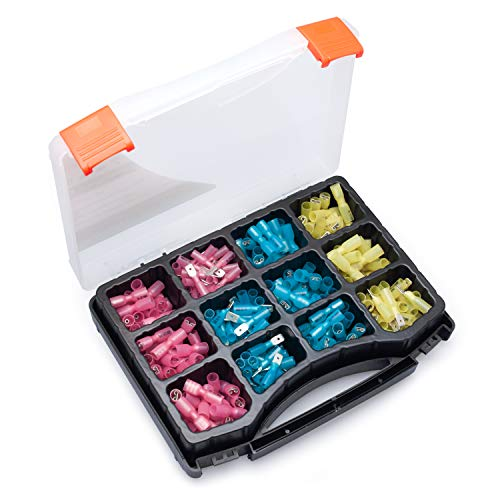 Wirefy 250 PCS Heat Shrink Spade Connectors - Quick Disconnect Wire Connectors - Electrical Spade Terminals - Male and Female Wire Connectors