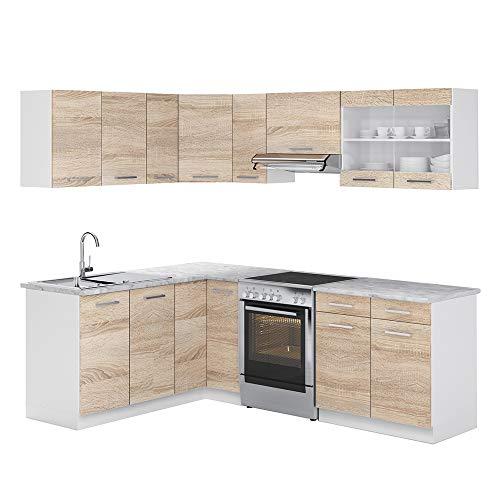 Cucina Vicco Cucina componibile a L Blocco Cucina Anello, Cucina Anello, 230 cm Sonoma Rovere