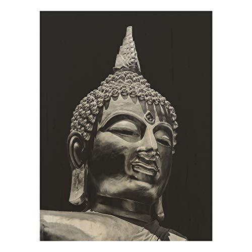 Holzbild - Buddha Statue Gesicht 40 x 30cm