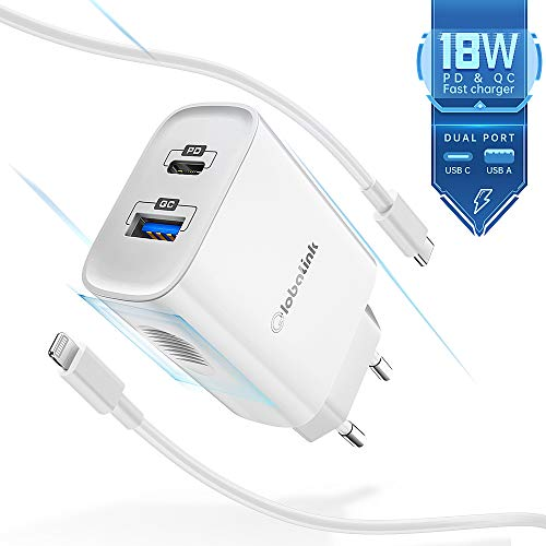 GlobaLink 18W Cargador iPhone Rapido USB C+MFi Cable USB C a Lightning 2M,Cargador Movil Universal con 2 Puertos(USB A y C) Power Delivery 3.0 para iPhone SE 2020/11 Pro Max/11Pro/11/XS/XR/X/8,iPad