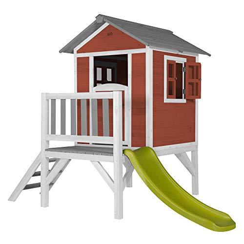 Casetta per Bambini in Legno con Scivolo e Veranda Lodge XL Scandinavian Red by Sunny