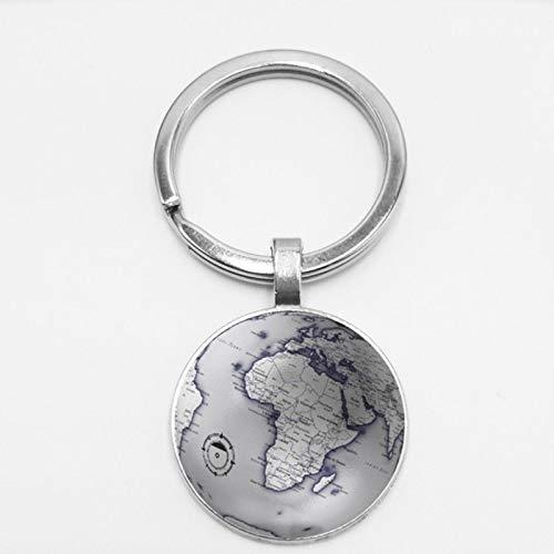 Earth World Map Seven Oceania Time Glass Keychain Globe Retro Car Keychain Hanging Buckle