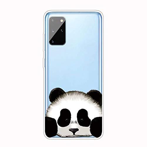 Miagon Transparent Hülle für Samsung Galaxy S20 Plus,Panda Kopf Muster Kreativ Süße Durchsichtig Klar Soft Ultra Dünn Silikon Case Cover Schutzabdeckung